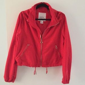 Red jacket with hoodie.